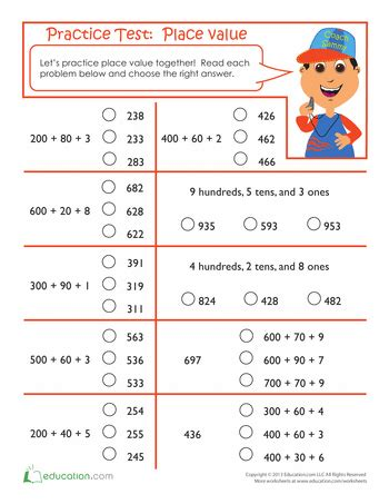 practice test place value worksheets math and teaching