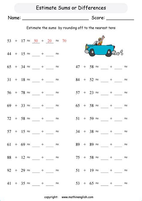 estimate  sum    digit numbers    grade