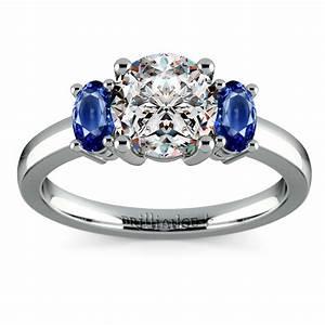 Oval Sapphire Gemstone Engagement Ring In Palladium