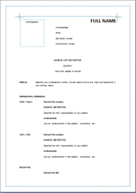 informal resume templates