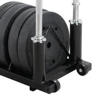 yaheetech horizontal barbell bumper plate storage rack  handle  wheels