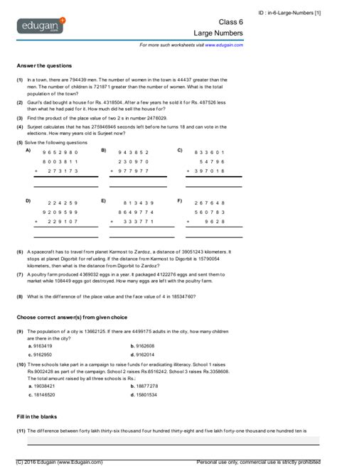 class 6 math worksheets and problems large numbers