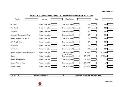 inspection sheet heat exchanger manual