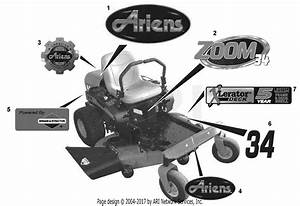 Ariens 915161  035000 - 044999  Zoom 50 Parts Diagram For Decals