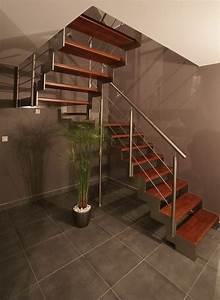 Marche Bois Escalier : escalier marches en bois structure inox divinox ~ Premium-room.com Idées de Décoration