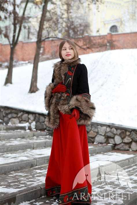 wool coat bordered  fake fur refers   russian
