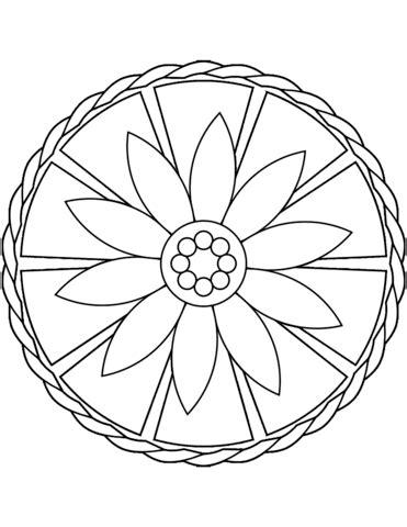 simple mandala  flower coloring page  printable