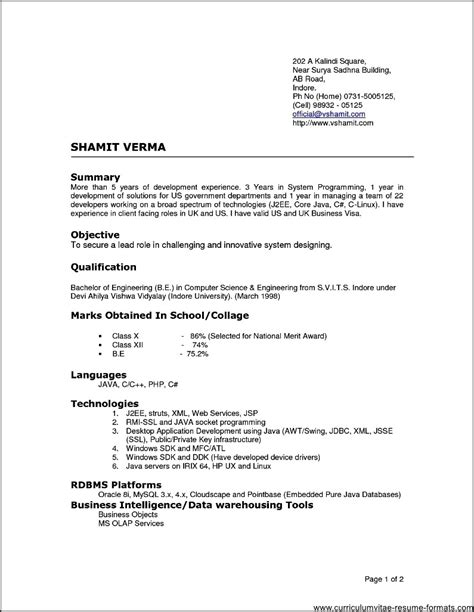 resume format  experienced  professionals