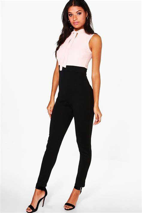 womens jumpsuits boohoo womens tie neck tailored jumpsuit ebay