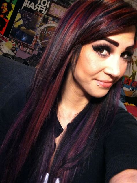 Black Red And Purple Bright Hair Color Hair And Makeup