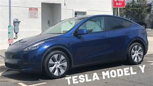 Blue Tesla Model Y Review with White Interior - YouTube