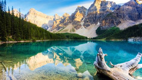 Canada Mountains Lake Stub Forest Full Hd Nature Wallpaper