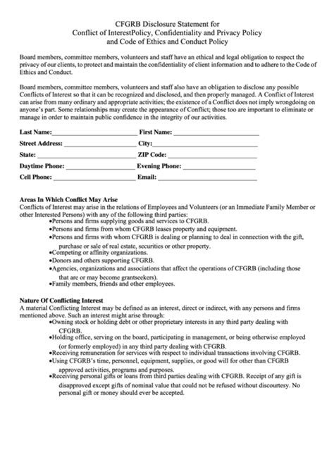 conflict  interest form templates