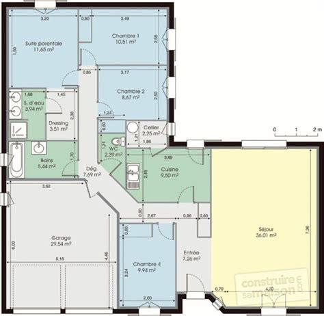 plan maison plain pied 4 chambres garage maison de plain pied dé du plan de maison de plain