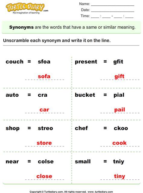 unscramble synonyms 3 worksheet turtlediary