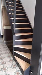 Marche Bois Escalier : r alisation d 39 un escalier sur mesure m tal et bois limon et contremarche m tal noir 9005 et ~ Voncanada.com Idées de Décoration