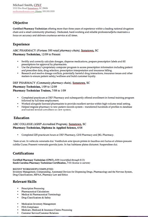 pharmacy school resume exle pharmacy technician resume exle resumes design