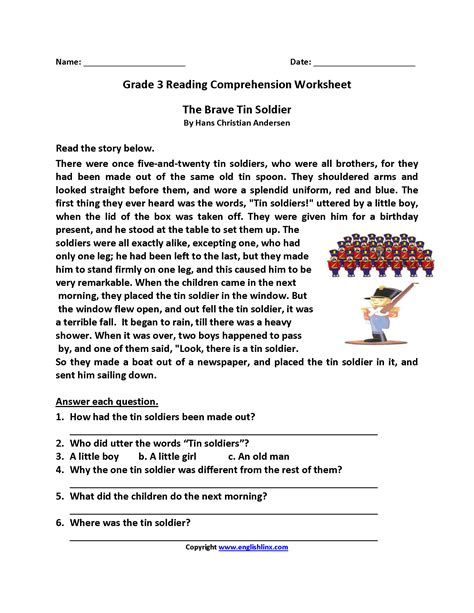 reading and comprehension worksheets for grade 3