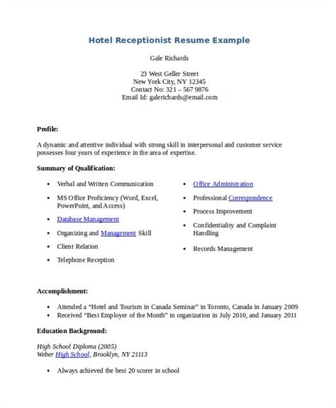 resume template hotel receptionist receptionist resume template 8 free word pdf document