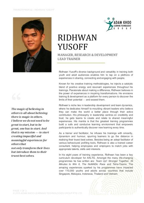 Trainer Profile Sle by Ridhwan Yusoff Trainers Profile