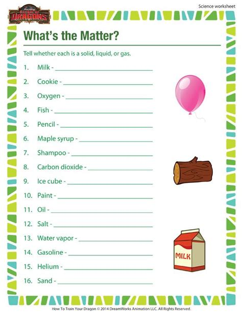 what s the matter printable science worksheet for 3rd