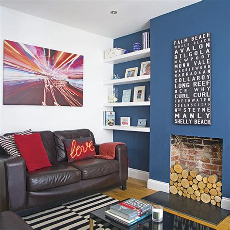 living room  dark blue feature wall decorating