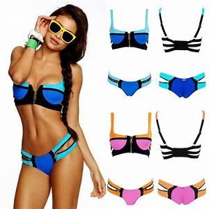 Women'S Bandage Bikini SET Push UP Padded BRA Swimsuit ...