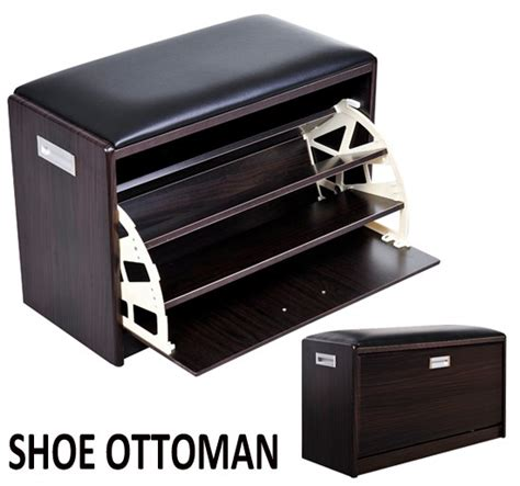 luxury wood furniture storage shoes cabinet shoe ottoman