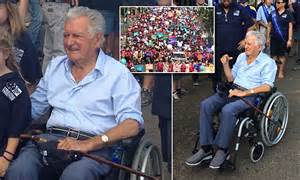 bob hawke pushed  wheelchair  labour day march