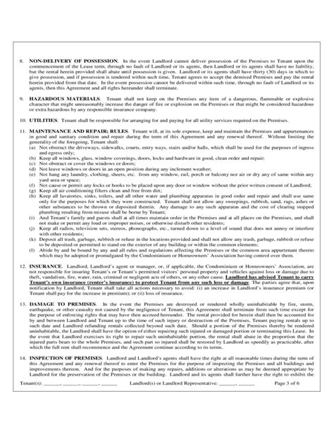 florida monthly residential rental  lease agreement