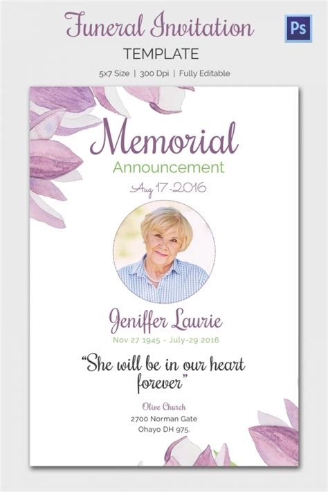 funeral service cards template memorial day invitation templates