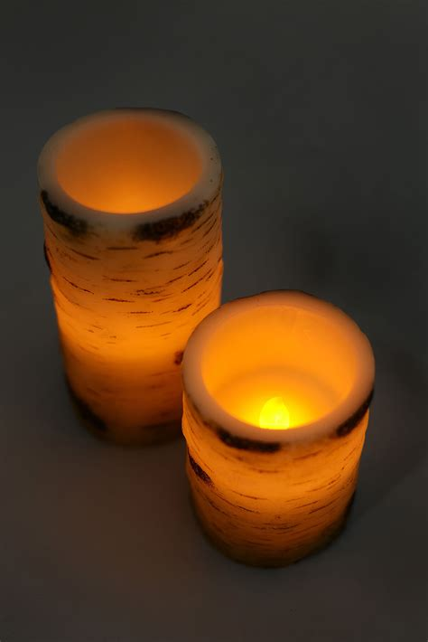 birch wax flameless battery operated led pillar candle 6