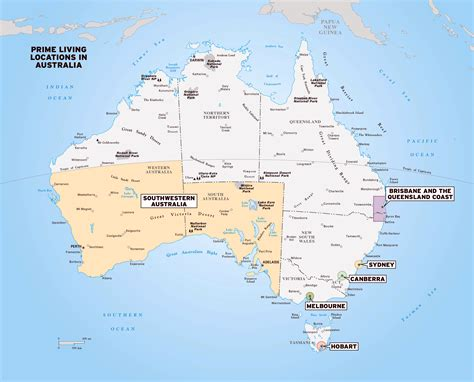 large map  australia  national parks  cities
