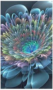 Abstract flowers, Blue flower wallpaper, Fractal art