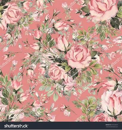 Bud Roses Herbs Bouquet Seamless Pattern Shutterstock