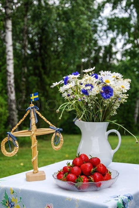 table  midsummer decoration   stock photo