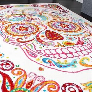 Teppich Bunt Modern : teppich bunter totenkopf moderner designer teppich skelett kopf multicolour wohn und ~ Frokenaadalensverden.com Haus und Dekorationen