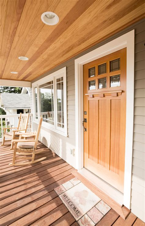 Cedar Porch Ceiling by Craftsman Style Doors Entry Craftsman With Cedar Porch