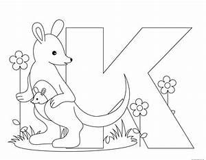 Printable Animal Alphabet Letter K for Kangaroo - Free
