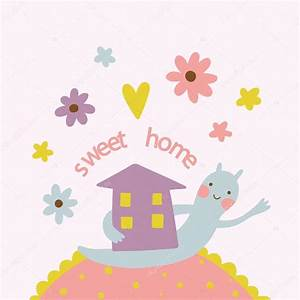 Sweet home background with cute houses — Stock Vector ...