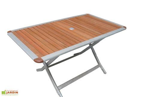 table pliante jardin table jardin pliante bois aluminium acapulco 140x80 table pliante aluminium et bois 140x180