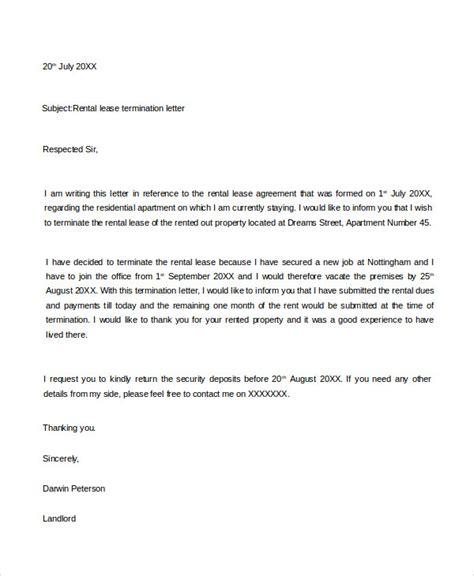 sample rental agreement letter 53 termination letter examples samples pdf doc