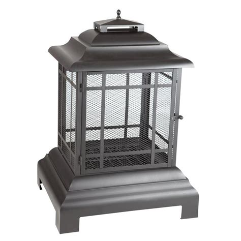 lowes outdoor fireplace shop sense black steel outdoor wood burning fireplace