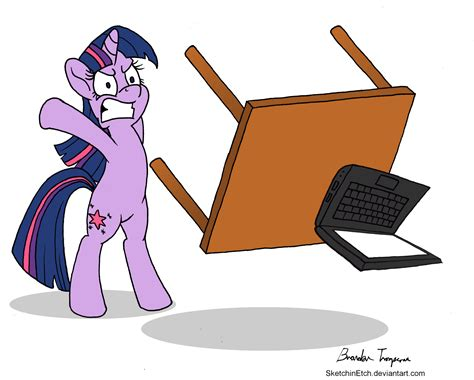 Desk Flip Meme - twilight flips computer desk my little pony friendship is magic know your meme