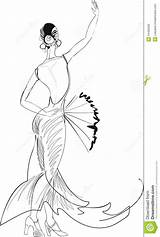 Dancer Flamenco Coloring Fan Pages Belly Dancers Sketch Sketches Dance Royalty Outline Radiokotha Vector sketch template