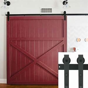 5 6 66 75 8 82 ft black rustic sliding barn door With 7 ft sliding barn door hardware
