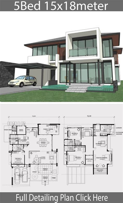 Home design plan 15x18m with 5 bedrooms Architectural