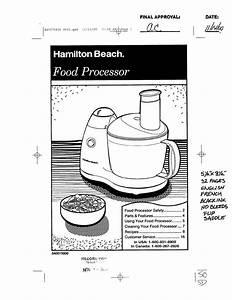 Hamilton Beach Food Processor 840075900 User Guide