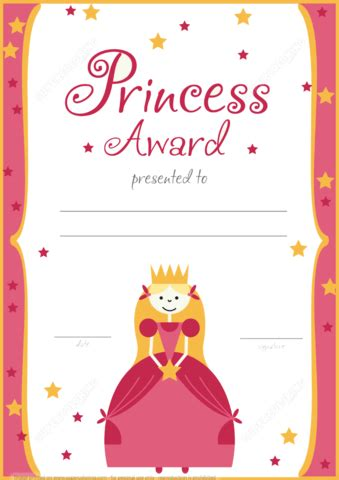 printable princess award certificate  printable