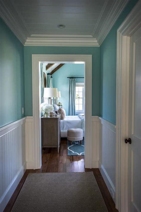 gorgeous blue hallway  white wainscoting hgtv